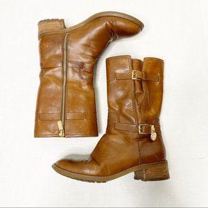 Michael Kors Camel & Gold Brown Mid Calf Boots